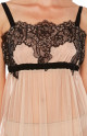 Negligee in skin-coloured tulle and black lace. Tanga knickers included- Coemi-Lingerie