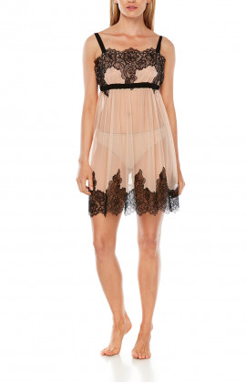 Negligee in skin-coloured tulle and black lace. Tanga knickers included