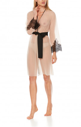 Mid-length negligee in skin-coloured tulle with black lace and belt