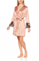 Eternal Glam mid-thigh dressing gown in satin and black lace