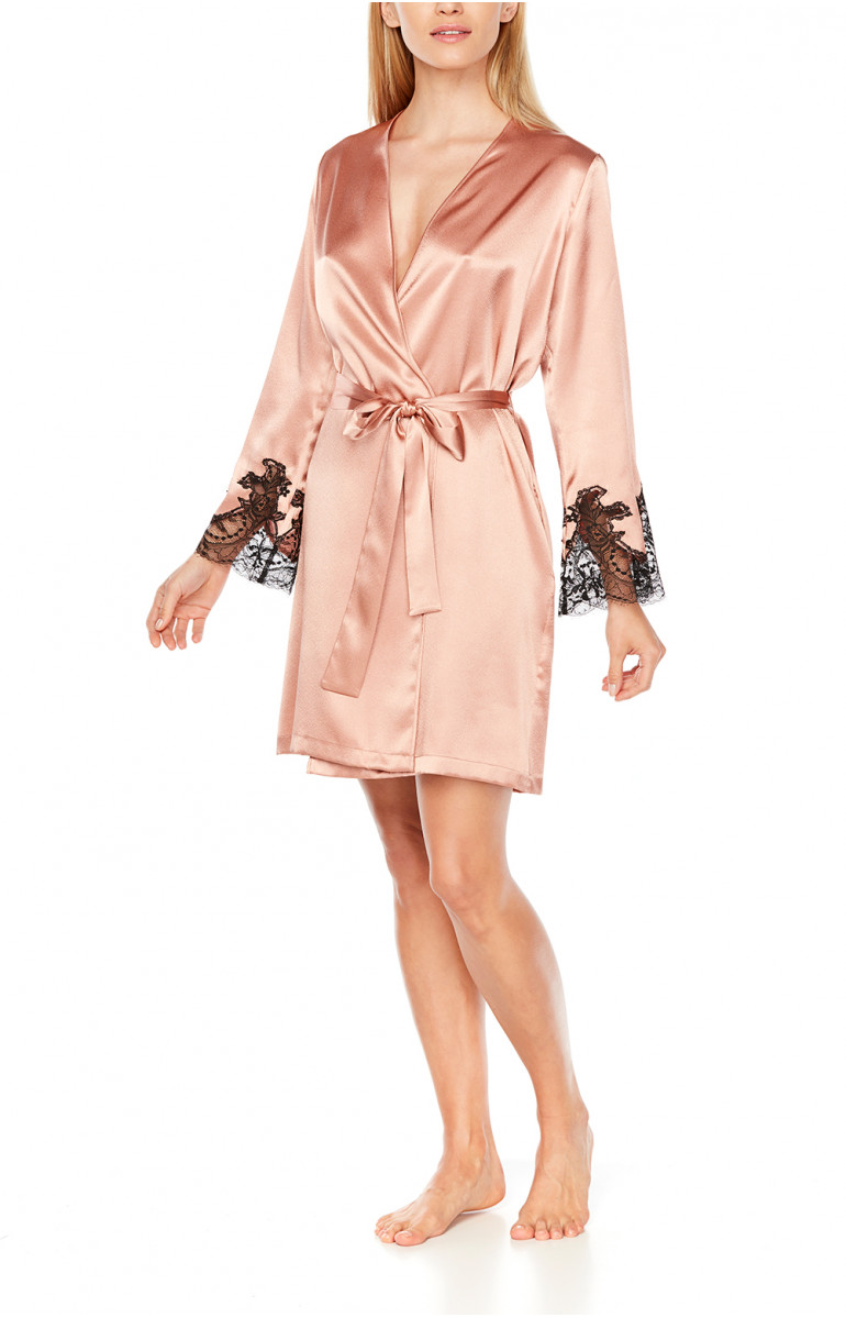 Eternal Glam mid-thigh dressing gown in satin and black lace - Coemi-Lingerie