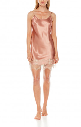 Satin and lace negligee with thin, adjustable, straight straps