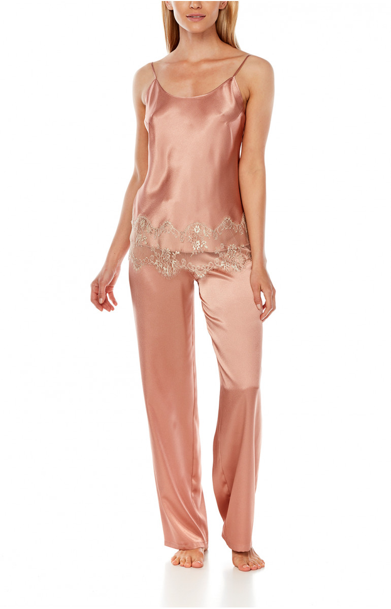 Satin pyjamas composed of a top with thin straps and straight-cut bottoms - Coemi-Lingerie
