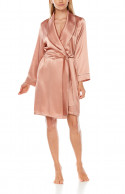 Satin dressing gown, cut just above the knee, with shawl collar and contrasting edging