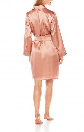 Satin dressing gown, cut just above the knee, with shawl collar and contrasting edging - Coemi-Lingerie