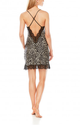 Satin negligee with thin straps, leopard print and black lace - Coemi-Lingerie