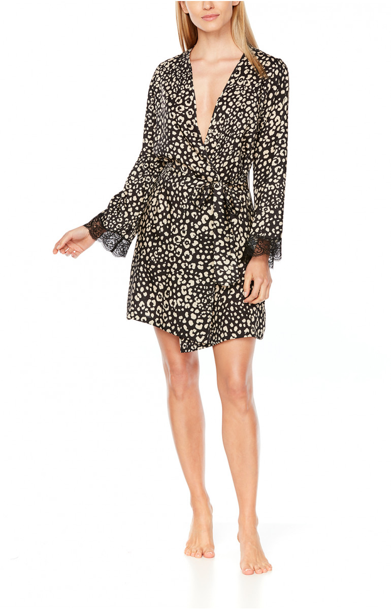 Short satin dressing gown in leopard print and black lace - Coemi-Lingerie