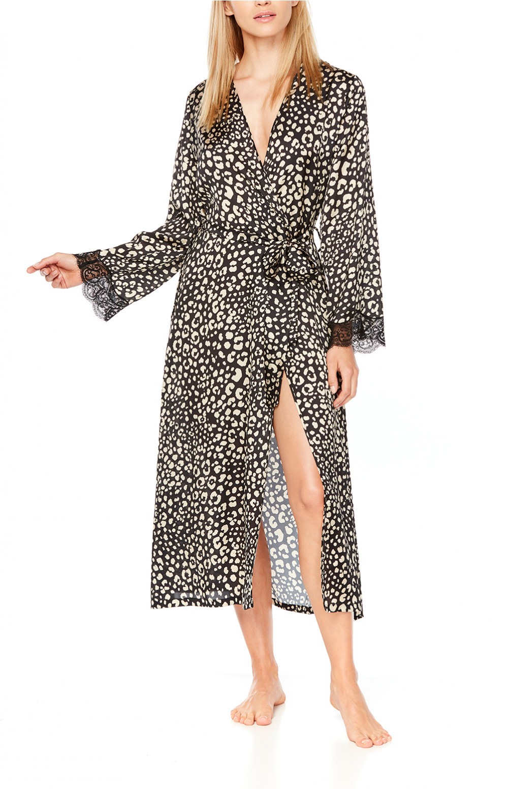 Long Satin Dressing Gown In Leopard Print And Black Lace