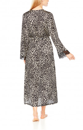 Long, satin dressing gown in leopard print and black lace - Coemi-Lingerie
