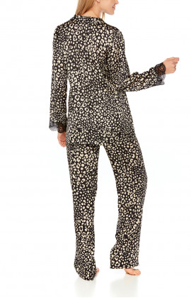Satin pyjamas in leopard print and black lace - Coemi-Lingerie
