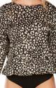 Elegant, blouse-effect satin bodysuit in leopard print - Coemi-Lingerie