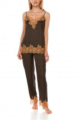 Satin pyjamas in polka dot print and contrasting lace