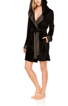 Short dressing gown in a blend of bamboo fibre with a wide hood - Coemi-Lingerie