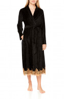 Elegant, long bathrobe/dressing gown in a blend of bamboo fibre and lace