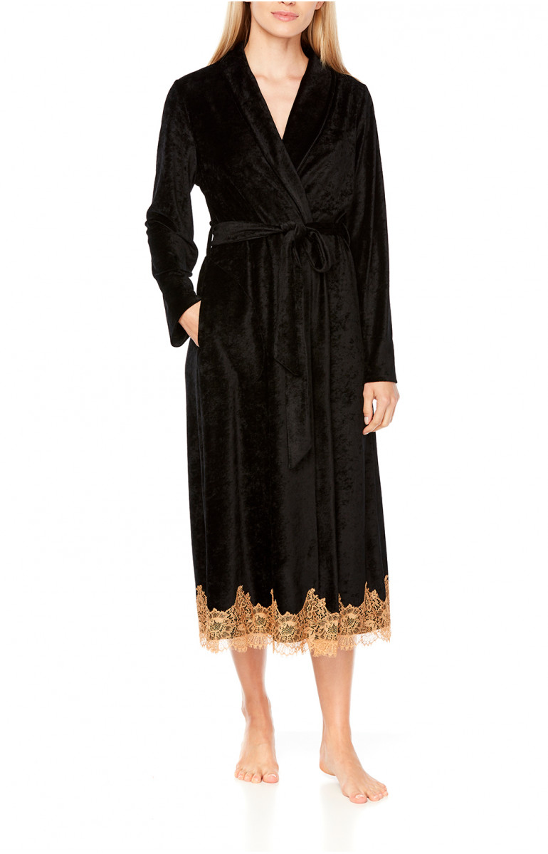 Elegant, long bathrobe/dressing gown in a blend of bamboo fibre and lace - Coemi-Lingerie