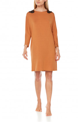 Tunic-style, long-sleeve nightdress with a lacey back