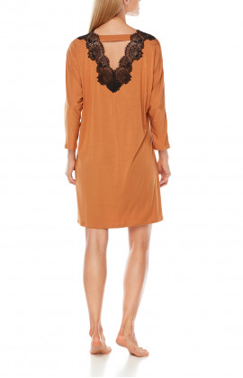 Tunic-style, long-sleeve nightdress with a lacey back - Coemi-Lingerie
