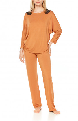 Long-sleeve micromodal pyjamas with lace