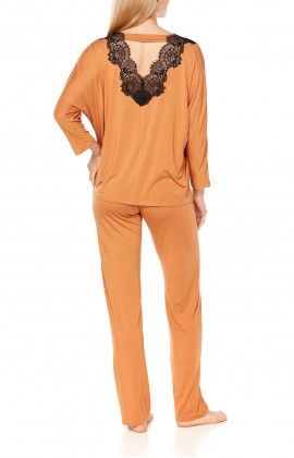 Long-sleeve micromodal pyjamas with lace - Coemi-Lingerie