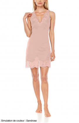 Negligee with wide straps, ties and cross-back straps and lace