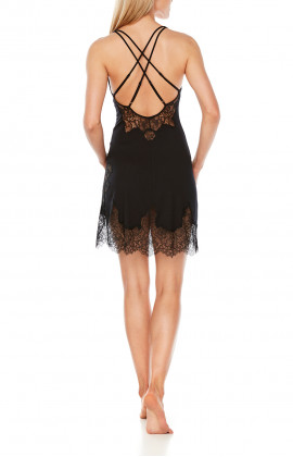 Negligee with wide straps, ties and cross-back straps and lace - Coemi-Lingerie