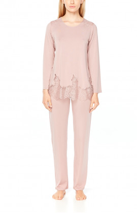 Long-sleeve micromodal pyjamas with matching lace