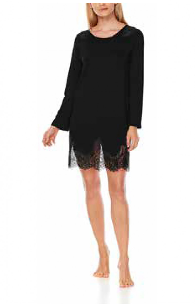 Short micromodal nightdress with long sleeves and lace