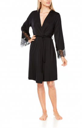 Mid-length, long-sleeve dressing gown with lace at the cuffs