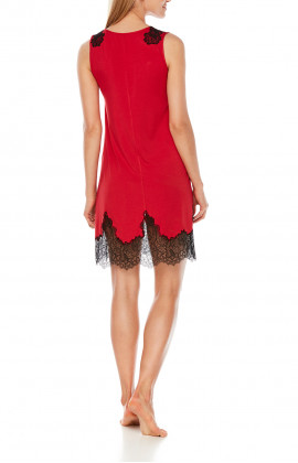 Short nightdress with two-tone micromodal and lace sleeves - Coemi-Lingerie