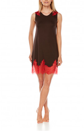 Short nightdress with two-tone micromodal and lace sleeves