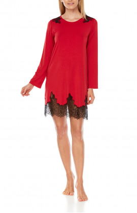 Short nightdress with two-tone micromodal and lace long sleeves - Coemi-lingerie
