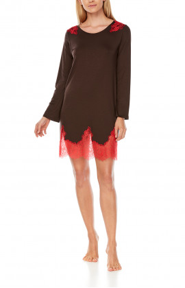 Short nightdress with two-tone micromodal and lace long sleeves