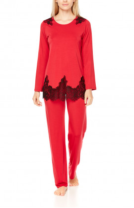 Two-tone, long-sleeve micromodal and lace pyjamas - Coemi-Lingerie