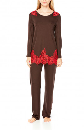 Two-tone, long-sleeve micromodal and lace pyjamas
