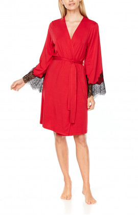 Mid-length, two-tone micromodal and lace, long-sleeve dressing gown - Coemi-Lingerie