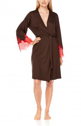 Mid-length, two-tone micromodal and lace, long-sleeve dressing gown