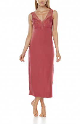 Long, sleeveless micromodal and lace nightdress with ties