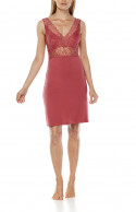 Sleeveless micromodal and lace nightdress, with fitted waist