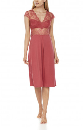 Mid-length micromodal and lace nightdress with short sleeves