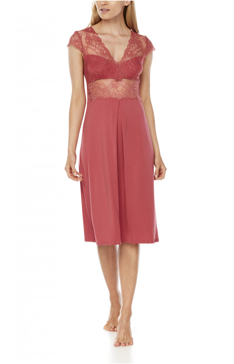 Mid-length micromodal and lace nightdress with short sleeves - Coemi-Lingerie