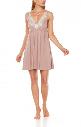 Strappy micromodal and lace negligee, fitted under the bust - Coemi-Lingerie