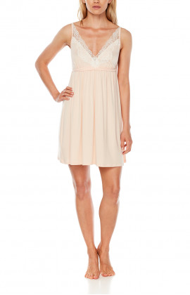 Strappy micromodal and lace negligee, fitted under the bust