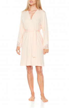 Mid-length micromodal and lace long-sleeve dressing gown - Coemi-Lingerie