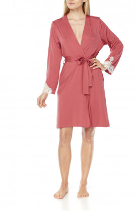 Mid-length micromodal and lace long-sleeve dressing gown