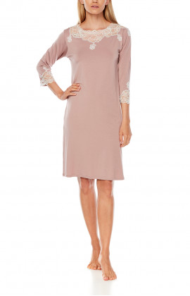 Micromodal and lace mid-length nightdress with three-quarter-length sleeves