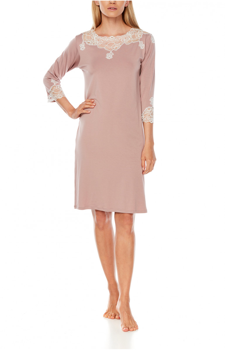 Micromodal and lace mid-length nightdress with three-quarter-length sleeves - Coemi-Lingerie