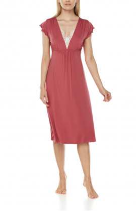 Straight-cut nightdress/lounge robe with short flounce sleeves