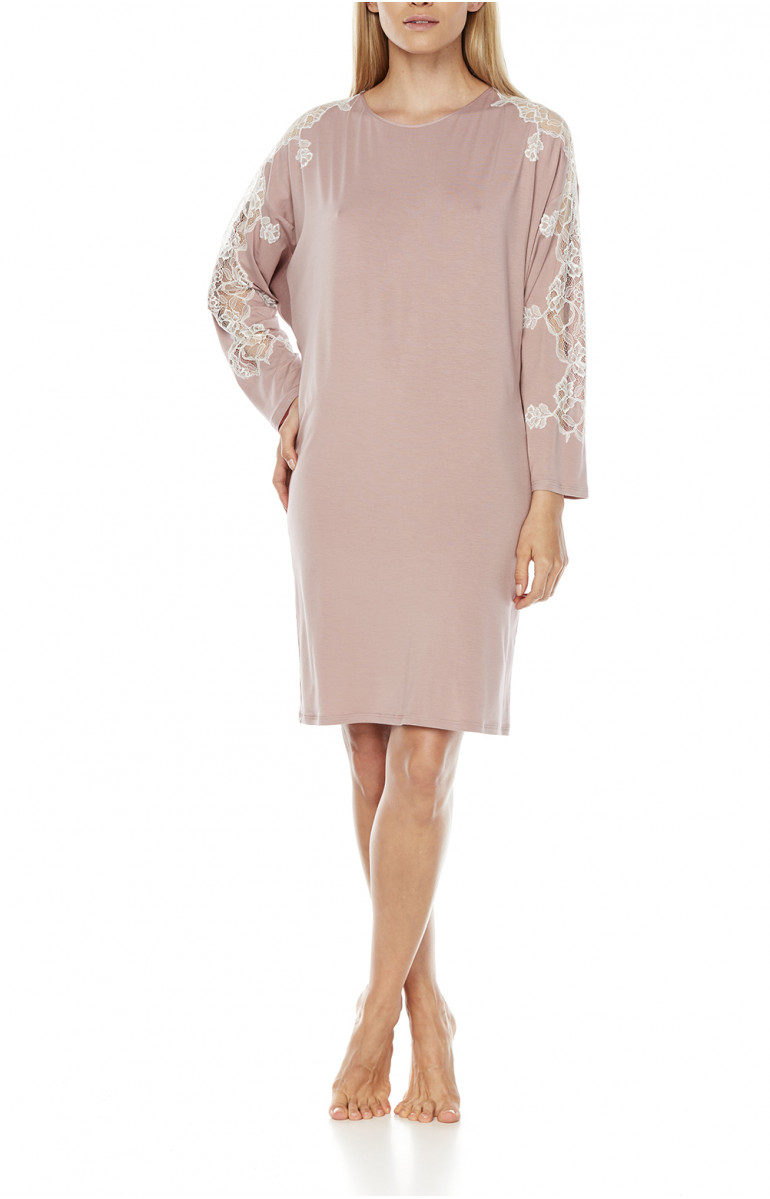 Tunic-style nightdress/lounge robe with long batwing sleeves - Coemi-Lingerie