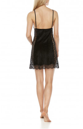 Sexy black negligee made of bamboo fibre and lace, with thin straps - Coemi-Lingerie