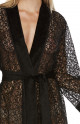 Very sexy, mid-length black dressing gown, made entirely of lace - Coemi-Lingerie
